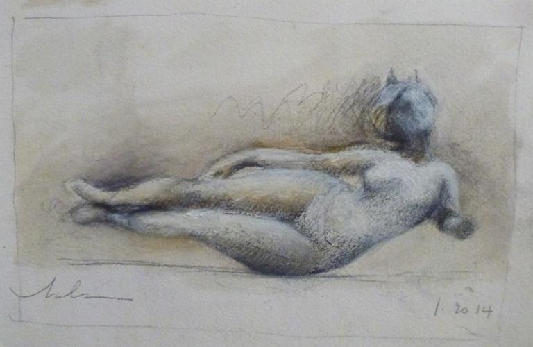 babylonian goddess-louvre-drawing